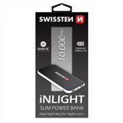 Swissten inlight slim power bank, 10000 mAh, lightning és mikro USB input, Smart IC
